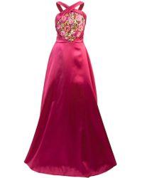 Marchesa notte - Embroidered Halterneck Ball Gown - Lyst