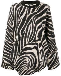 ALEXACHUNG ゼブラパターン セーター - ブラック