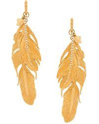 Versace Crystal-embellished Feather Pendant Earrings - Metallic