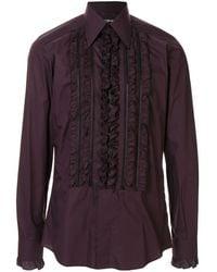 Dolce & Gabbana Camisa con ribetes de volantes - Morado