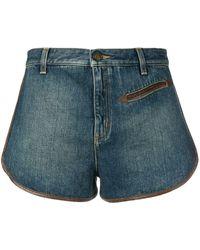 Saint Laurent Shorts Met Contrasterende Rand - Blauw