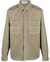 MSGM Logo-print Shirt Jacket - Natural