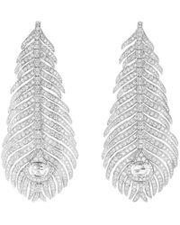 Boucheron Plume De Paon ダイヤモンド ピアス 18kホワイトゴールド - メタリック