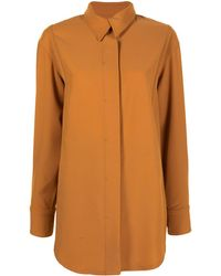 GOODIOUS Twill Concealed-button Shirt Jacket - Brown