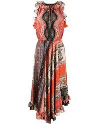 Etro Платье С Принтом И Вырезом Халтер - Красный