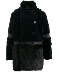 Sacai Faux fur hooded coat - Blu