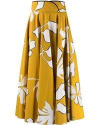 Gentry Portofino Floral A-line Midi Skirt - Yellow