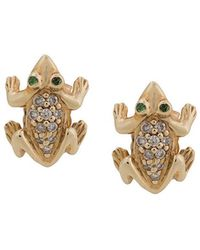 Sydney Evan - 14kt Yellow Gold Diamond And Garnet Frog Stud Earrings - Lyst