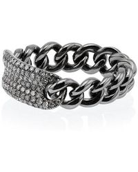 SHAY - Metallic Silver Chain Link Diamond Ring - Lyst