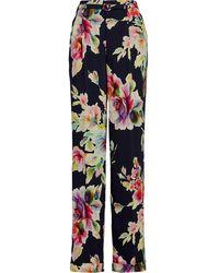 Ralph Lauren Collection Pantalon droit à fleurs - Bleu