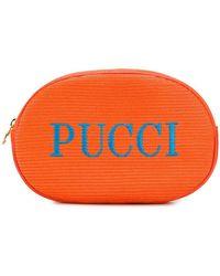 Emilio Pucci Trousse à maquillage à logo brodé - Orange