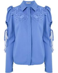 Martha Medeiros Dominique Lace Appliqué Shirt - Blue