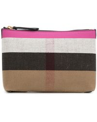 Burberry - Check Zipped Pouch - Lyst