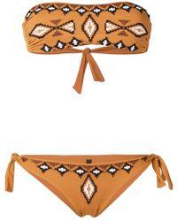 Fisico - Embroidered Pattern Bandeau Bikini - Lyst