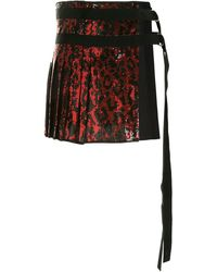 N°21 Sequined D-ring Skirt - Red