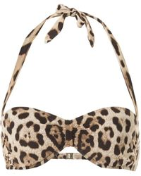 Dolce & Gabbana - Haut de bikini à imprimé léopard - Lyst