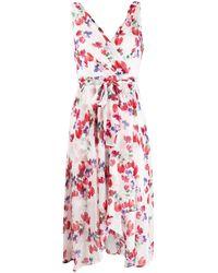 DKNY フローラル ラップドレス - レッド