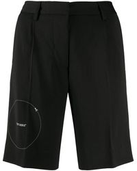 Off-White c/o Virgil Abloh Embroidered-detail Tailored Shorts - Black