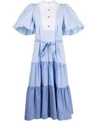 Eudon Choi Colour-block Ruffled Midi Dress - Blue