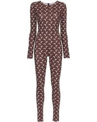 Marine Serre Crescent Print Fitted Jumpsuit - Brown