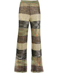 Missoni Pantalones a rayas con detalle de lentejuelas - Verde