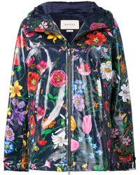Gucci Floral Print Parka Coat - Blue