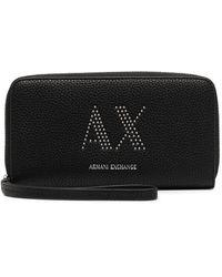 Armani Exchange ファスナー財布 - ブラック