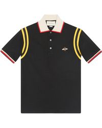 Gucci Cotton Polo With Bee - Black