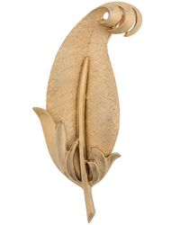 Susan Caplan 1960s Trifari Leaf Brooch - Multicolour