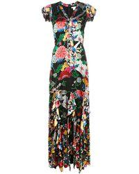 Alice + Olivia Vestido largo con estampado floral - Negro