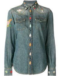 Saint Laurent Embroidered Denim Shirt Mid Denim - Blue