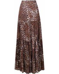 Veronica Beard Leopard Print Slit-detail Skirt - Brown