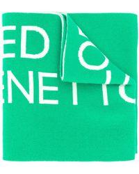 Benetton Bufanda de punto con logo - Verde
