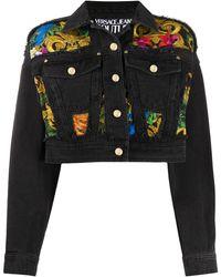 Versace Jeans Couture バロックプリント デニムジャケット - ブラック