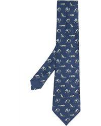 Hermès Cravate à motif animalier pre-owned - Bleu