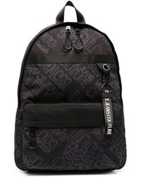 Versace Jeans Couture Logo Print Zip-up Backpack - Black