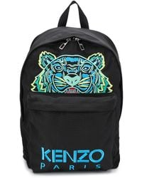 KENZO Black Large Tiger Kanvas Backpack - Negro