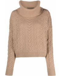 Diane von Furstenberg Cable-knit Roll-neck Sweater - Natural