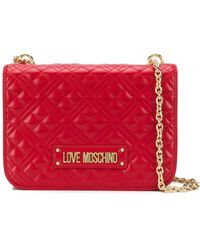 Love Moschino Embroidered Faux Leather Shoulder Bag