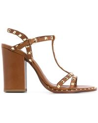 93ddf1c8cdb1 Lyst - Gucci Molina Lips-embroidered Leather Sandals in Natural