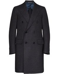 Canali Double-breasted Checked Coat - Black