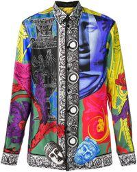 Versace Camisa con estampado Magna Grecia - Negro