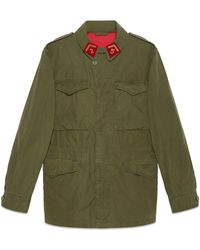 Gucci Coated Parka With Logo - Green