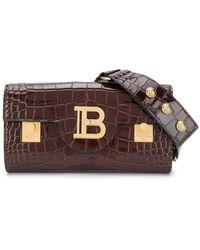 Balmain Crocodile-effect Belt Bag - Brown