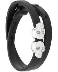 Northskull Double Skull Wrap Bracelet - Zwart