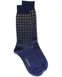 Canali Houndstooth Pattern Socks - Blue