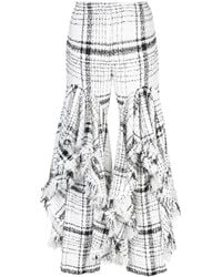 Brock Collection Checked Ruffled Tweed Trousers - White