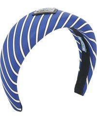 Prada Striped Logo Plaque Hair Band - Blue
