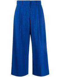 Sacai Side stripe cropped trousers - Azul