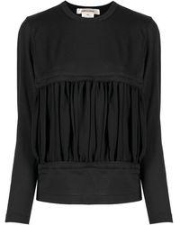 Comme des Garçons ギャザーパネル スウェットシャツ - ブラック